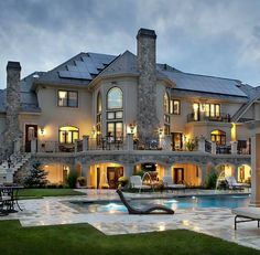 Luxury Mansion Estate Exterior with Swimming Pool