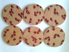 Hand painted wooden coasters Ladybugs set of 6 hand by Essenziale