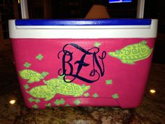 hand painted cooler--Lilly Pulitzer pattern with monogram