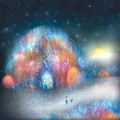Not too much longer until The Man Made of Stars is released and I can share more from the book. Winter Illustration, Landscape Illustration, Cute Illustration, Lisa Evans, Evans Art, Candy Art, Fairytale Art, Naive Art, Winter Art