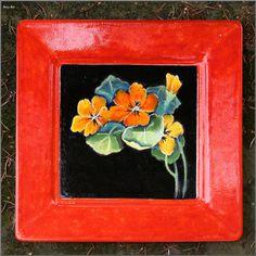 NASTURCJE ceramiczna patera, majolika Danuta Rożnowska-Borys BorysArt