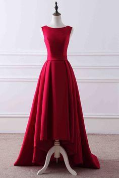 Red matte round neck high low train evening dress,42418