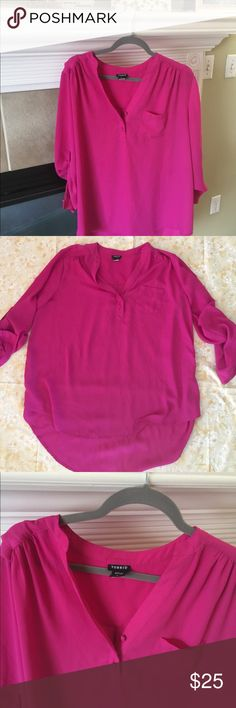 Torrid Fuchsia Shirt Super cute high/low shirt from Torrid. Used few times, in excellent condition. Armpit to armpit 25 inches, front/back lengths 29 inches/33 inches. Torrid sizing chart included, please refer to measurements as well. torrid Tops Tunics