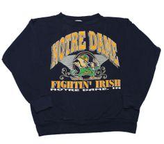 "Vintage Notre Dame College ""Fightin' Irish"" Crewneck Sweatshirt Made in USA Mens Size Large $40.00"