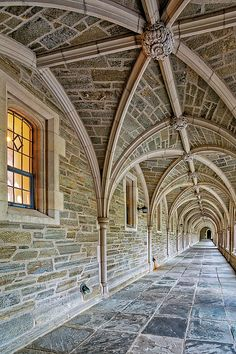 Princeton University Hallway - A view to a perfect example of Collegiate Gothic architecture style. Princeton University is a private Ivy League research university in Princeton, New Jersey, United States. Available in color as well as in a black and white print. To view additional images please: visit http://susancandelario.com/ #PrincetonUniversity #Architecture #CollegiateGothic