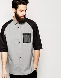 ASOS Shirt In Short Sleeve With Sheer Mesh Panel