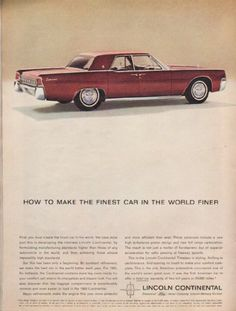 "1963 LINCOLN CONTINENTAL vintage magazine advertisement ""the finest car"" ~ (model year 1963) ~ How to make the finest car in the world finer ~ Size: The dimensions of the full-page advertisement are approximately 8.25 inches x 11 inches (21 cm x 28 cm). Condition: This original vintage full-page advertisement is in Excellent Condition unless otherwise noted."