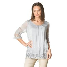 Pearl embroidery silk blouse