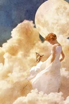Angel & butterfly on clouds moon