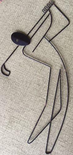 Original Vtg 50s Weinberg Wire Golfer Wall Hanging Sculpture Mid Century Modern #FredericWeinberg