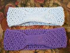 crocheted headbands/ ear warmers without buttons to get tangled in your hair!