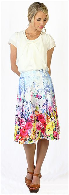 Floral Print Pleated A-line Skirt [MSS3111] - $44.99 : Mikarose Boutique, Reinventing Modesty