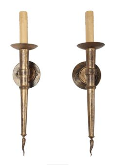 1940's French Gilded Iron Sconces