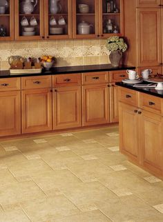 Linoleum flooring is eco friendly because its made from flaxseed oil. Its very durable and cost efficient, it also comes in a variety of color.