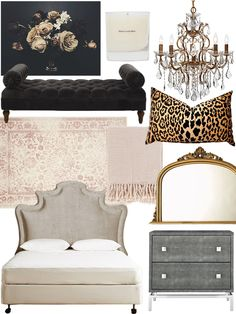 Shop Trophy, Maison Louis Marie — No. 03 L'etang Noir Candle — THE LINE, Juliet Chandelier | Hanging Lamps | Lighting | Decor | Z Gallerie, Velvet Cheetah Pillow Cover - rectangular lumbar leopard black gold animal print, Selections by Chaumont Amarone Gold Over Mantle Mirror, shagreen embossed nightstand, Slub Velvet Ainsworth Headboard, Safavieh Adirondack Oriental Ivory/ Rose Rug (8' x 10'), Surya Tierney Pink Throw Blanket, Britney Upholstered Bench | Joss & Main and more