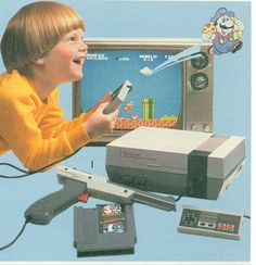 Nintendo circa 1989. I think that might even be the tv I first played on, ha! But I had better haircut game than that kid.