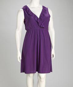 Another great find on #zulily! Purple Ruffle Plus-Size Surplice Dress by jon & anna #zulilyfinds