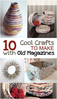 Creative crafts to make with old magazines craftprojects craft tutorials crafting craft hacks diy crafts diy diy home decor popular pin magazine crafts recycling projects diy mbel hacks Upcycled Crafts, Diy Home Crafts, Creative Crafts, Easy Crafts, Decor Crafts, Recycled Decor, Cool Crafts, Garden Crafts, Creative Kids