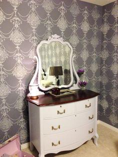 A DIY stenciled bedroom using the Duchess Damask Stencil for a wallpaper look.   http://www.cuttingedgestencils.com/stencil-patterns-damask.html?utm_source=JCG&utm_medium=Pinterest&utm_campaign=Duchess%20Damask%20Stencil
