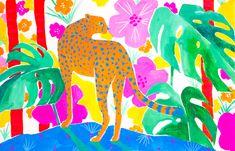 Jaguar in Tropical Garden Mini Art Print by sunlee_art - Jaguar in Tropical Garden Mini Art Print by Sun Lee – Without Stand – x - Tropical Garden, Tropical Plants, Monstera Obliqua, Diy Garden Furniture, Fiddle Leaf Fig, Exotic Plants, Desert Rose, Summer Flowers, Beautiful Gardens
