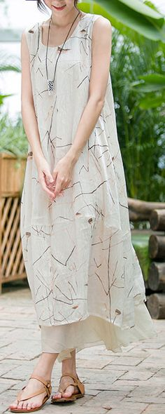 women prints linen dress plus size sleeveless linen clothing dress New layered linen caftans1