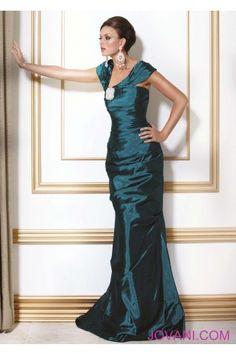 Jovani Style 158146 Off-Shoulder Embellished Pleated Mermaid-Style Dress