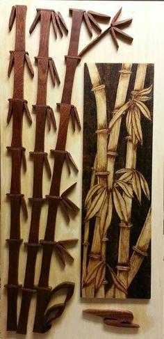 Bamboo pyrography and intarsia