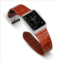 Apple Watch Band with Metal Clasp, Jisoncase® Luxury Genuine Leather Crocodile Patterns Watchband Real Cowhides Replacement Wrist Strap with Stainless Steel Classic Buckle for iWatch 42mm – Brown ** Hurry! Check out this great product : Travel Gadgets