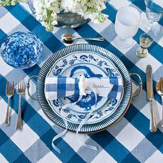 table settings for blue and white china