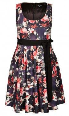 Plus Size Floating Rose Dress - City Chic