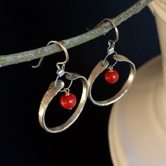 Red Coral With Gold Vermeil Wire Wrap on Hammered Sterling Silver Earrings