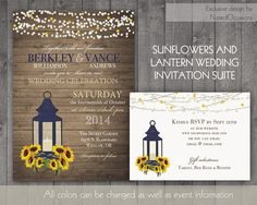 Sunflower Wedding Invitation Rustic Lantern Country Wedding Invitations with Sunflowers and Lantern wood grain background Fall Summer by NotedOccasions, $45.00