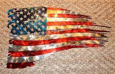Patriotic Tattered Torn Distressed American Flag Wall Art 31 x 17 1 2 Gold Metal Wall Art, Contemporary Metal Wall Art, Metal Walls, Metal Art, Ripped Skin Tattoo, American Flag Wall Art, Metal Flag, Planet Tattoos, Wall Art Crafts