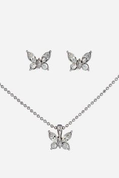 Silver Flutter Necklace & Earrings Made With SWAROVSKI ELEMENTS