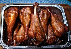 Smoked turkey legs, a spring festival treat!  The secret to making an authentic festival-style turkey leg is that the meat needs to be cured, like a ham. The curing process gives it that hammy flavor that many of us crave, and it makes the meat very juicy.  Follow the link for the recipe from The Weekend Chef at DFW.com.