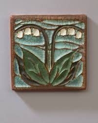 Lily of the Valley Tile - Ephraim Pottery Art Deco Tattoo, Craftsman Tile, Art Nouveau Tiles, Clay Tiles, Handmade Tiles, Arts And Crafts Movement, Vintage Pottery, Lily Of The Valley, Tile Art