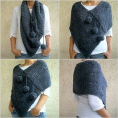 This hand knit darkish grey blue pom pom poncho scarf will heat you up within the spring, fall and winter season. It's the hand knitted with very mushy boucle yarn. Knitted Poncho, Knitted Shawls, Crochet Shawl, Knit Crochet, Poncho Scarf, Tunic Sweater, Loom Knitting, Hand Knitting, Knitting Patterns