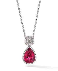 Rosendorff Amore Collection Ruby and Diamond Tear Drop Pendant
