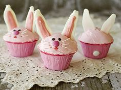 """Aadorable Pink Bunny Cupcakes to help celebrate Easter with your little bunnies - from Betty Crocker This recipe calls for """"candy melts"""" which usually contain nut allergy warnings. Instead of candy melts, you could use cookie dough to bake """"cookie ears. Carrot Cake Cupcakes, Strawberry Cupcakes, Cute Cupcakes, Cupcake Cakes, Cup Cakes, Strawberry Recipes, Strawberry Frosting, Cupcake Art, Vanilla Frosting"""