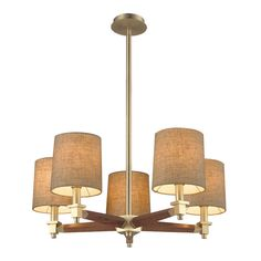 ELK Lighting 31327/5 Jorgenson 5 Light Wood Chandelier in Satin Brass Finish
