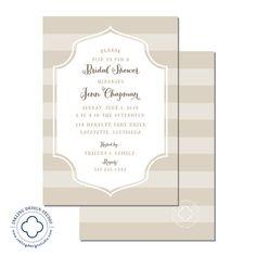 Striped Bridal Shower Invitation or Baby Shower Invitation  |  Mocha, Blue Pink  |  InklingDesignStudio, $30.00