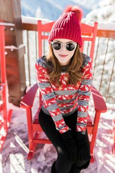 This red striped sweater is the perfect sporty piece to liven up an outfit - on or off the slopes.