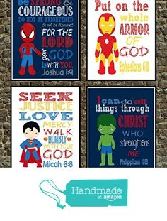 Christian wall art amazon superhero set of 2 christian for Bible verses for kids rooms