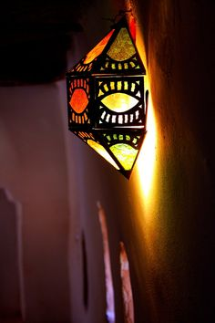 Travel Art photography Moroccan colorful lamp. $15,00, via Etsy.