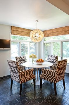 outer mount bamboo shades, resting near ceiling. Ashley Goforth Design | Ripple Creek