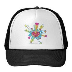 Superman Stylized | Pink with Hearts Logo. Producto disponible en tienda Zazzle. Accesorios, moda. Product available in Zazzle store. Fashion Accessories. Regalos, Gifts. #gorra #hat #heroe #hero #american
