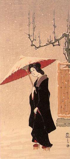 Woman in Snow  by Fritz Capelari, 1915   (published by Watanabe Shozaburo)