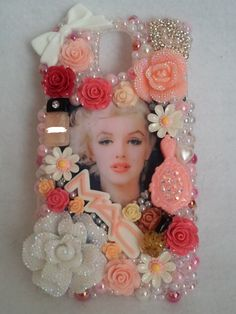 Romantic Marilyn Monroe Iphone Samsung Galaxy Note 2 3 4 5 6 Plus Handmade Made to Order Cell Phone Case Homemade Decoden Phone Case, Diy Phone Case, Iphone Phone Cases, Phone Covers, Iphone 6, Biscuit, Samsung Galaxy Phones, All Iphones, Galaxy Note