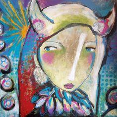 Acrylmalerei - Sternzeichen-Bild Stier 80x80 cm Horoskop Gesicht - ein Designerstück von Dworzak bei DaWanda