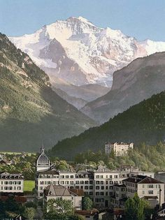 Historic color print of Interlaken, hotels, Bernese Oberland, Switzerland in Oberland, Switzerland Oh The Places You'll Go, Places To Travel, Places To Visit, Voyager C'est Vivre, Travel Around The World, Around The Worlds, Beaux Villages, Winterthur, Belle Villa
